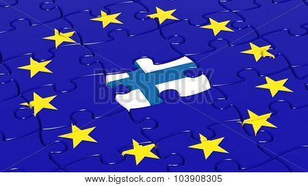 Jigsaw puzzle flag of European Union with Finland flag piece.