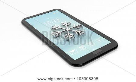 Tablet / smartphone with snowflake symbol, isolated on white. Weather forecast concept.