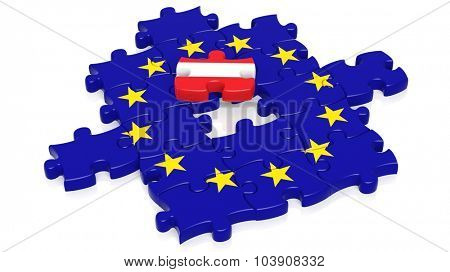 Jigsaw puzzle flag of European Union with Austria flag piece, isolated on white.