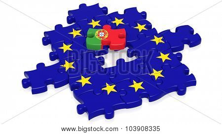 Jigsaw puzzle flag of European Union with Portugal flag piece, isolated on white.