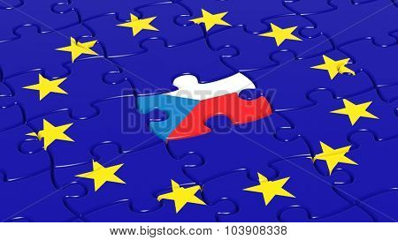 Jigsaw puzzle flag of European Union with Czech Republic flag piece.