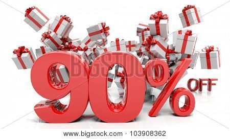 90% 3D numbers with bunch of gift boxes,isolated on white background.
