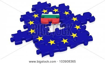 Jigsaw puzzle flag of European Union with Bulgaria, flag piece, isolated on white.