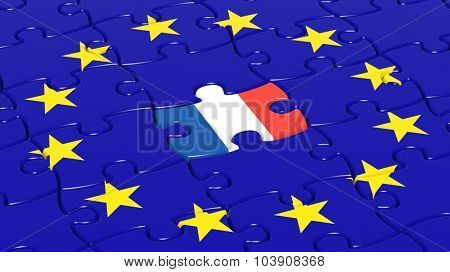 Jigsaw puzzle flag of European Union with France flag piece.