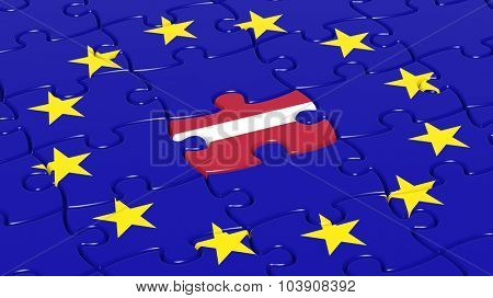 Jigsaw puzzle flag of European Union with Latvia flag piece.