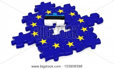 Jigsaw puzzle flag of European Union with Estonia flag piece, isolated on white.