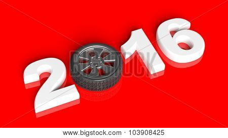 2016 text with car wheel rim, isolated on red.