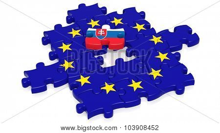 Jigsaw puzzle flag of European Union with Slovakia flag piece, isolated on white.