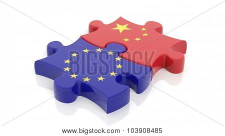 Jigsaw puzzle pieces, flag of EU and flag of China, isolated on white.