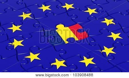 Jigsaw puzzle flag of European Union with Romania flag piece.
