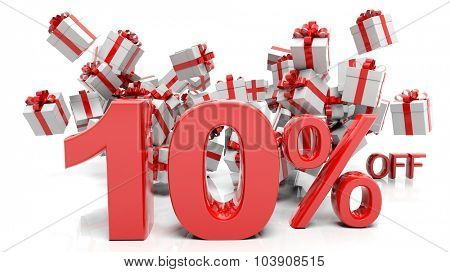 10% 3D numbers with bunch of gift boxes,isolated on white background.