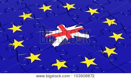 Jigsaw puzzle flag of European Union with United Kingdom flag piece.