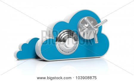 Cloud online storage icons with round dial lock, isolated on white
