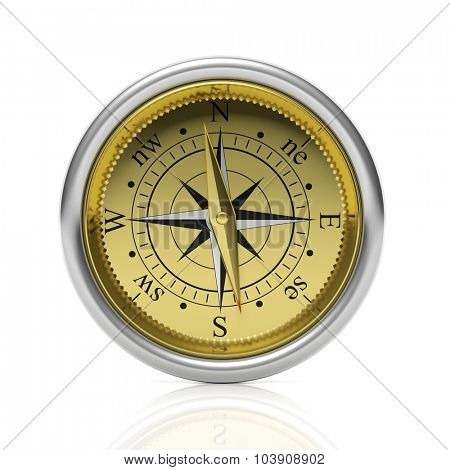 Golden compass detailed dial, isolated on white background.