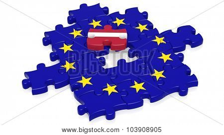 Jigsaw puzzle flag of European Union with Latvia flag piece, isolated on white.