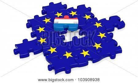 Jigsaw puzzle flag of European Union with Netherlands flag piece, isolated on white.