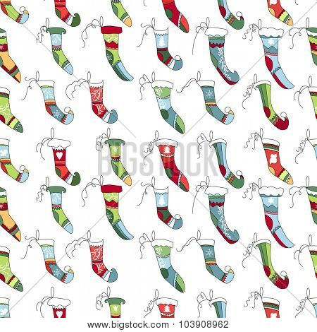 Seamless pattern with Christmas Santa socks on white. Bright colors. Endless texture for design, announcements, postcards, posters.