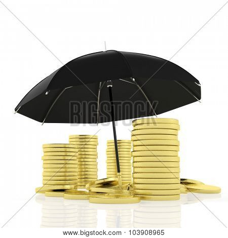 A pile of gold coins under big black umbrella, isolated on white.