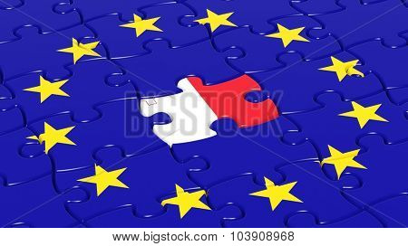 Jigsaw puzzle flag of European Union with Malta flag piece.