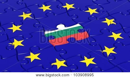 Jigsaw puzzle flag of European Union with Bulgaria flag piece.