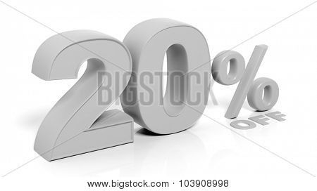 20% 3D numbers,isolated on white background.