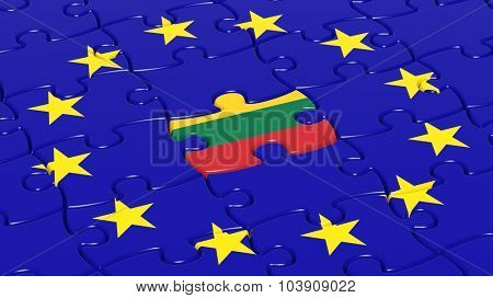 Jigsaw puzzle flag of European Union with Lithuania flag piece.