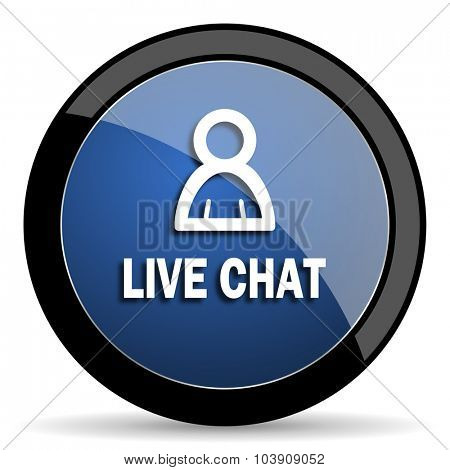 live chat blue circle glossy web icon on white background, round button for internet and mobile app