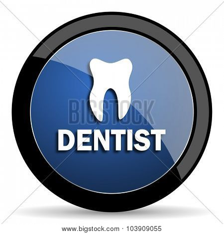 dentist blue circle glossy web icon on white background, round button for internet and mobile app