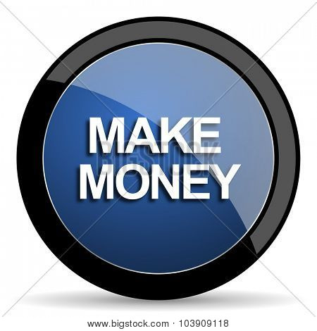 make money blue circle glossy web icon on white background, round button for internet and mobile app
