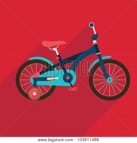 Children bicycle flat icon with long shadow