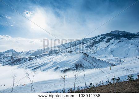 Mountains during winter in Azerbaijan