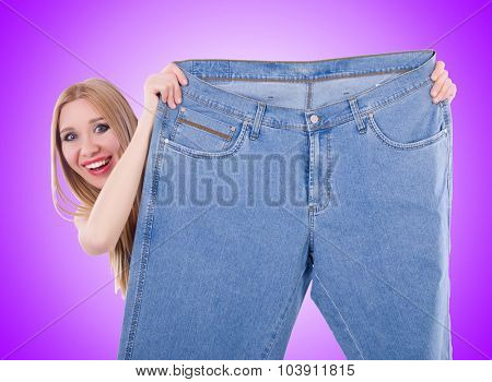 Dieting concept with oversize jeans