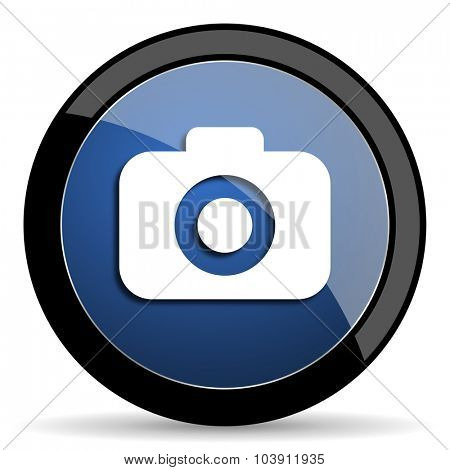 photo camera blue circle glossy web icon on white background, round button for internet and mobile app