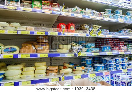 Sale Of Cheese In The Hypermarket Metro