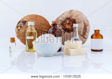 Coconut Essential Oils Natural Spa Ingredients For Scrub ,massage And Skin Care Isolate On White Bac
