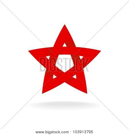 Red Star Logo Template. Infinite Ribbon Concept.