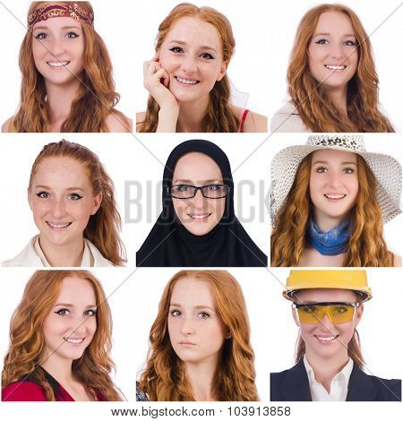 Collage of many faces from same model