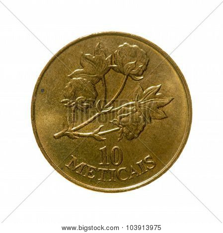 Mozambique Meticais Ten Coin Isolated On White Background. Top View.
