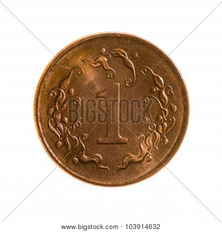 One Cent Coin Of Zimbabwe Isolated On A White Background.