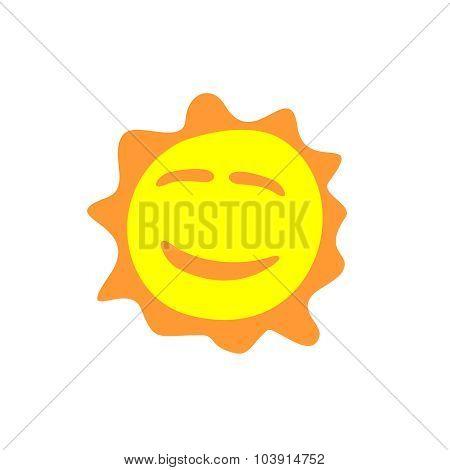 Sunshine Fun Sign. Smiling Sun Logo.