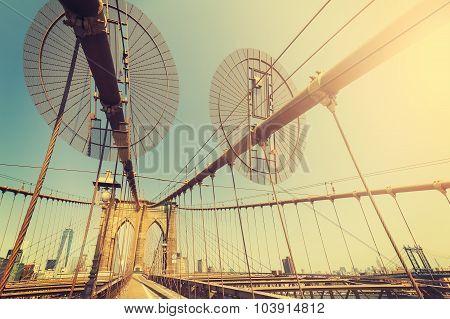 Vintage Toned Fisheye Lens Picture Of Brooklyn Bridge, Nyc, Usa.