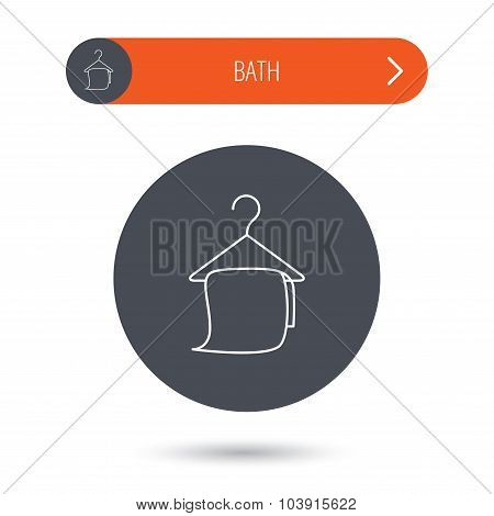Bath towel icon. Cleaning service sign.
