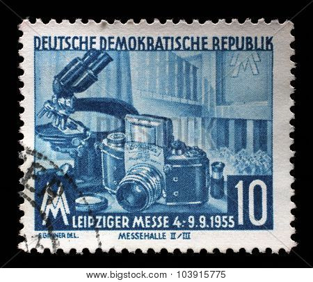 GDR - CIRCA 1960: a stamp printed in GDR shows Leipzig Autumn Fair, circa 1960
