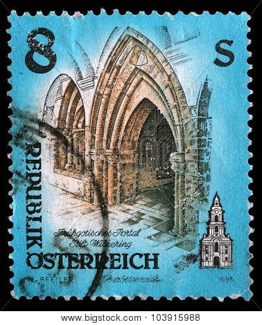 AUSTRIA - CIRCA 1995: stamp printed by Austria, shows portal of Wilhering abbey, circa 1995