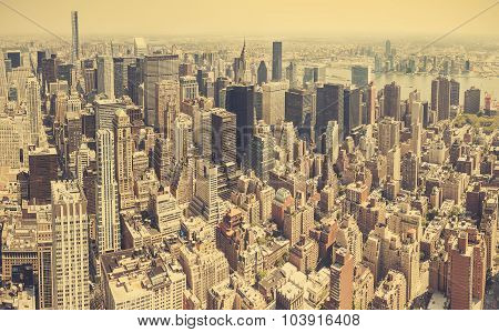 Retro Stylized Aerial View Of Manhattan, New York City, Usa.