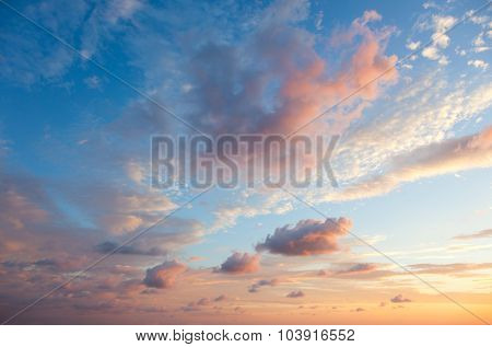 Gentle Sky Background at Sunset time, natural colors, may use for wallpaper
