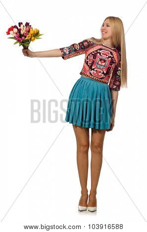 Woman with flowers isolated on white