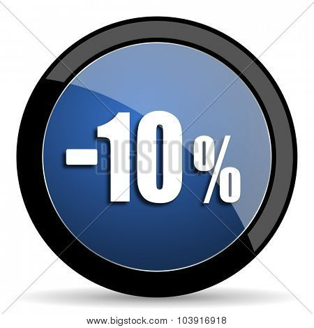 10 percent sale retail blue circle glossy web icon on white background, round button for internet and mobile app
