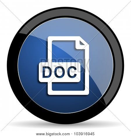 doc file blue circle glossy web icon on white background, round button for internet and mobile app