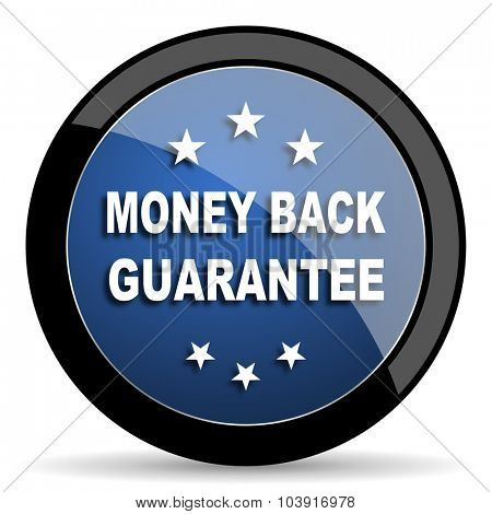 money back guarantee blue circle glossy web icon on white background, round button for internet and mobile app